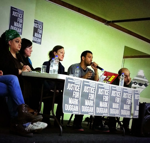 Fidel Santigi speaking at a #justice4mark meeting, 30 Jan 2014