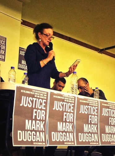 Carole Duggan speaking at a #justice4mark meeting, 30 Jan 2014
