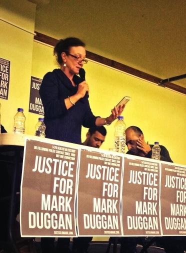 Carole Duggan speaking at a #justice4mark meeting, 30 Jan 2014