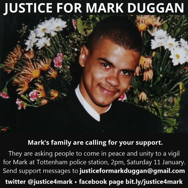 Peaceful vigil for Mark Duggan on Saturday
