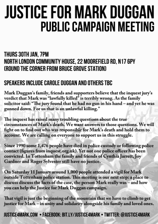 flyer for #j4m public meeting on 30 Jan