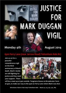 Mark Duggan - 4th Aug Vigil